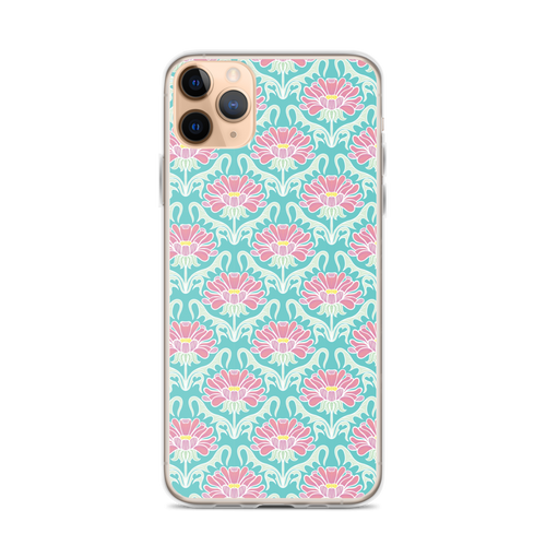 Aqua and Pink Floral iPhone Case