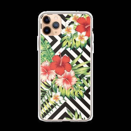 Pretty Hibiscus Floral Pattern on Black Chevron Design iPhone Case