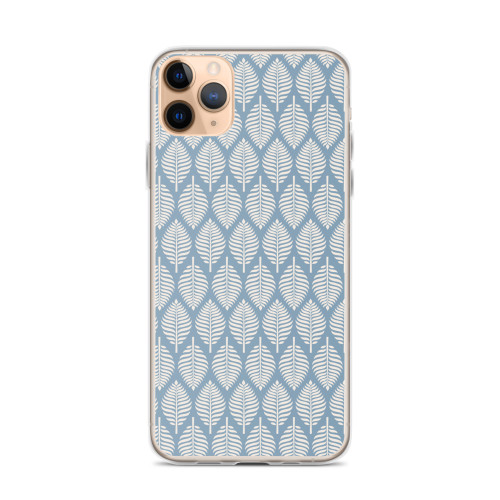 Pretty Tan Leaf Pattern on Blue iPhone Case