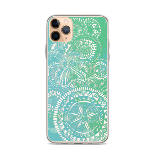 Sea Green Henna Grunge iPhone Case