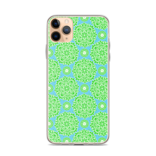 Blue Green Sun Henna iPhone Case