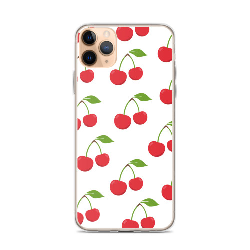 Red Cherry Pattern iPhone Case for iPhone models including 12, 12 Mini, 12 Pro, 12 Pro Max, 11, 11 Pro, 11 Pro Max, XR, XS Max, X/XS, 7Plus/8Plus, 7/8 and SE