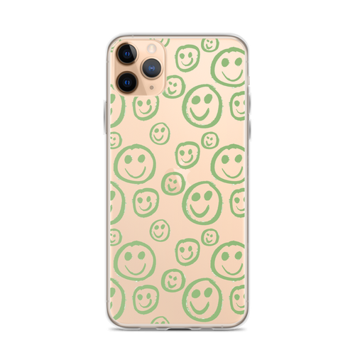 Green Smiley Face Transparent iPhone Case