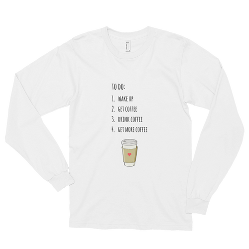 Coffee To Do Long Sleeve Tee in White