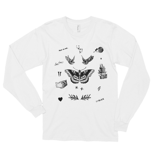Harry's Tattoos Long Sleeve Tee in White