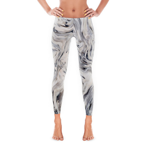 Grey Liquid Swirl Leggings
