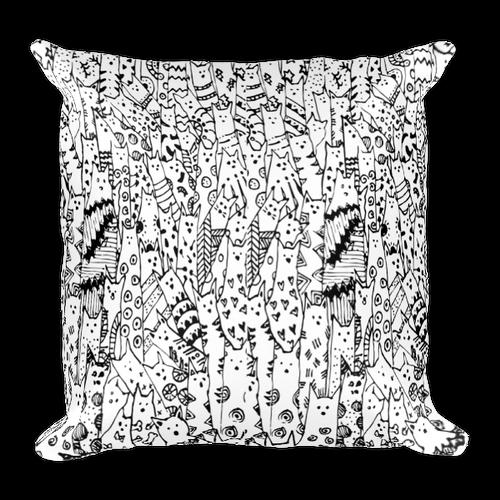 Cat Doodle Square Pillow