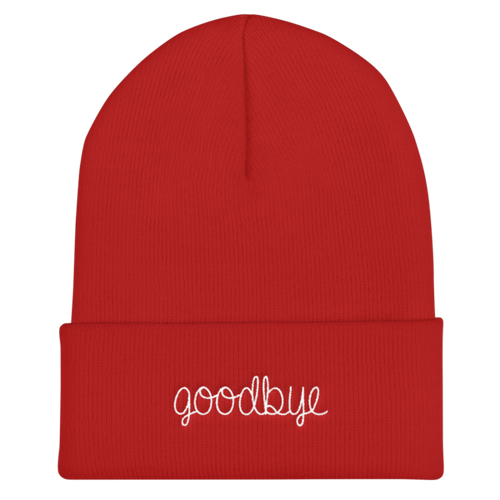 Goodbye Embroidered Red Beanie