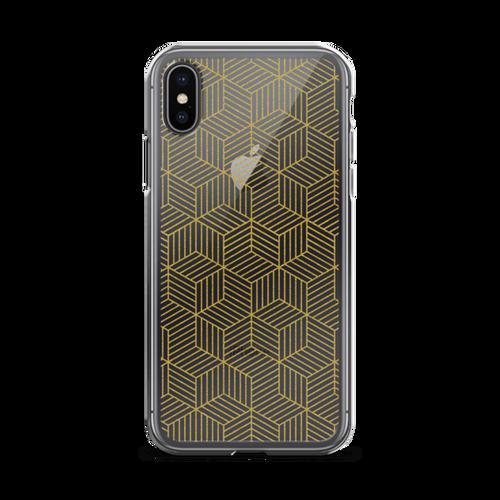 Glittering Gold Geometric Transparent iPhone Case