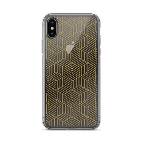 Glittering Gold Geometric Transparent iPhone Case