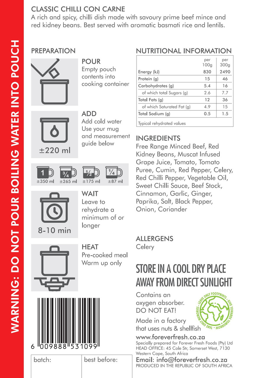 Forever Fresh - Chili Con Carne - 2 Servings Label - Online at Mountain Mail Order South Africa