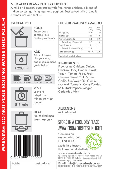 Forever Fresh - Mild & Creamy Butter Chicken - 2 Servings Label Online at Mountain Mail Order South Africa