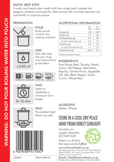 Forever Fresh - Rustic Beef Stew - 2 Servings Label Online at Mountain Mail Order South Africa