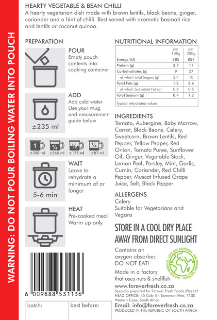 Forever Fresh - Hearty Vegetable & Bean Chili - 2 Servings Label Online at Mountain Mail Order South Africa