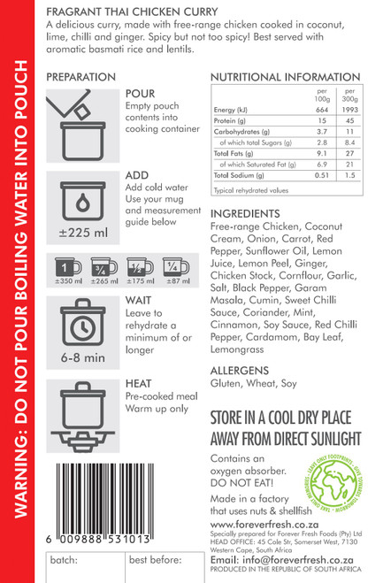 Forever Fresh - Fragrant Thai Chicken Curry - 2 Servings Label Online at Mountain Mail Order South Africa
