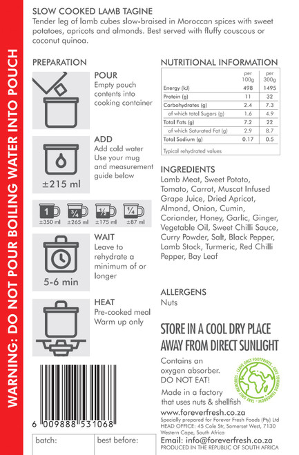 Forever Fresh - Slow Cooked Lamb Tagine - 2 Servings Label Online at Mountain Mail Order South Africa