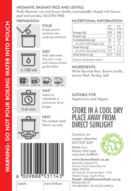 Aromatic Basmati Rice & Lentils Side - 2 Servings Label Online at Mountain Mail Order South Africa