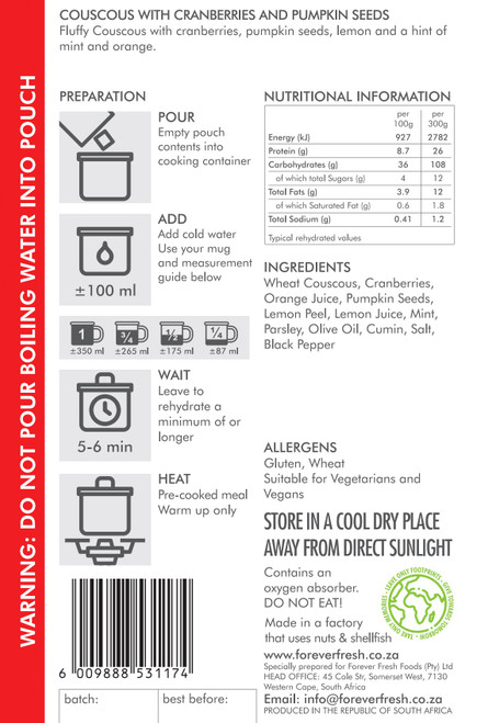Forever Fresh - Couscous with Cranberries & Pumpkin Seeds - 2 Servings Label Online at Mountain Mail Order South Africa