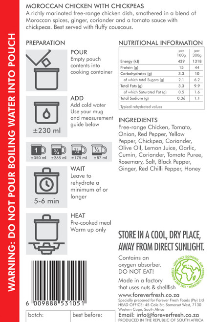 Forever Fresh - Moroccan Chicken with Chickpeas - 2 Servings Label Online at Mountain Mail Order South Africa