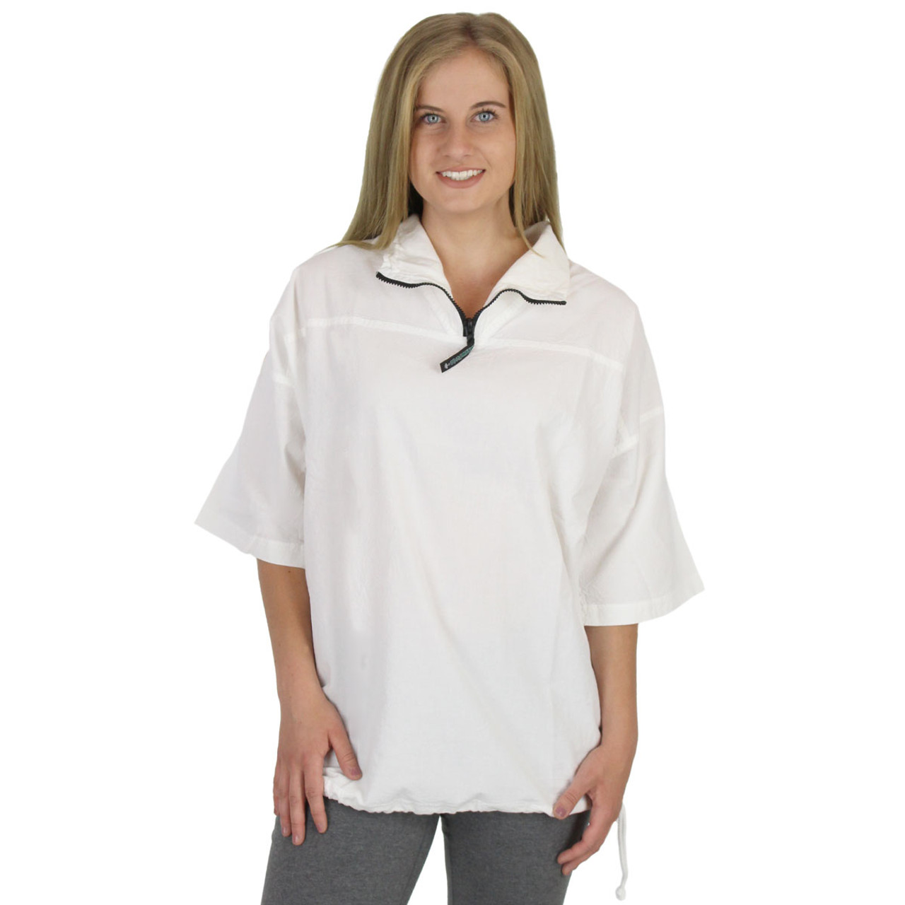 1b55d618a Honeykomb Cotton Short Sleeve Zip Top