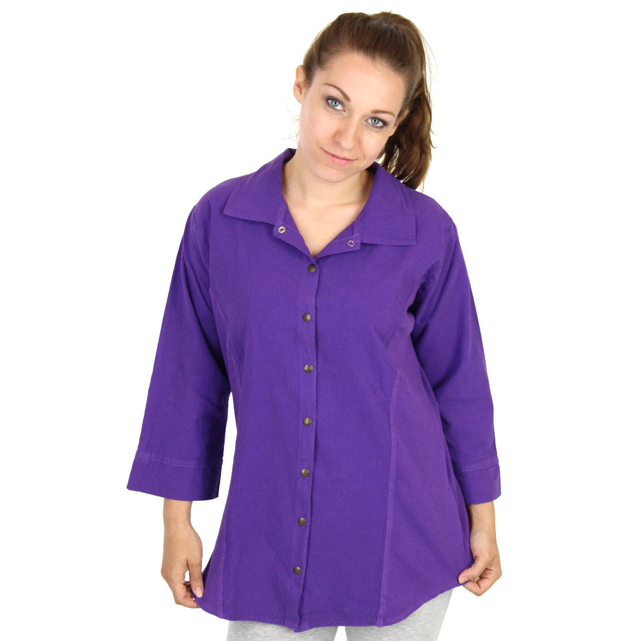 ede997fcc HoneyKomb Corded 3 Qtr Sleeve Tailored Blouse Top Shirt / Ezze Wear / Made  in Canada