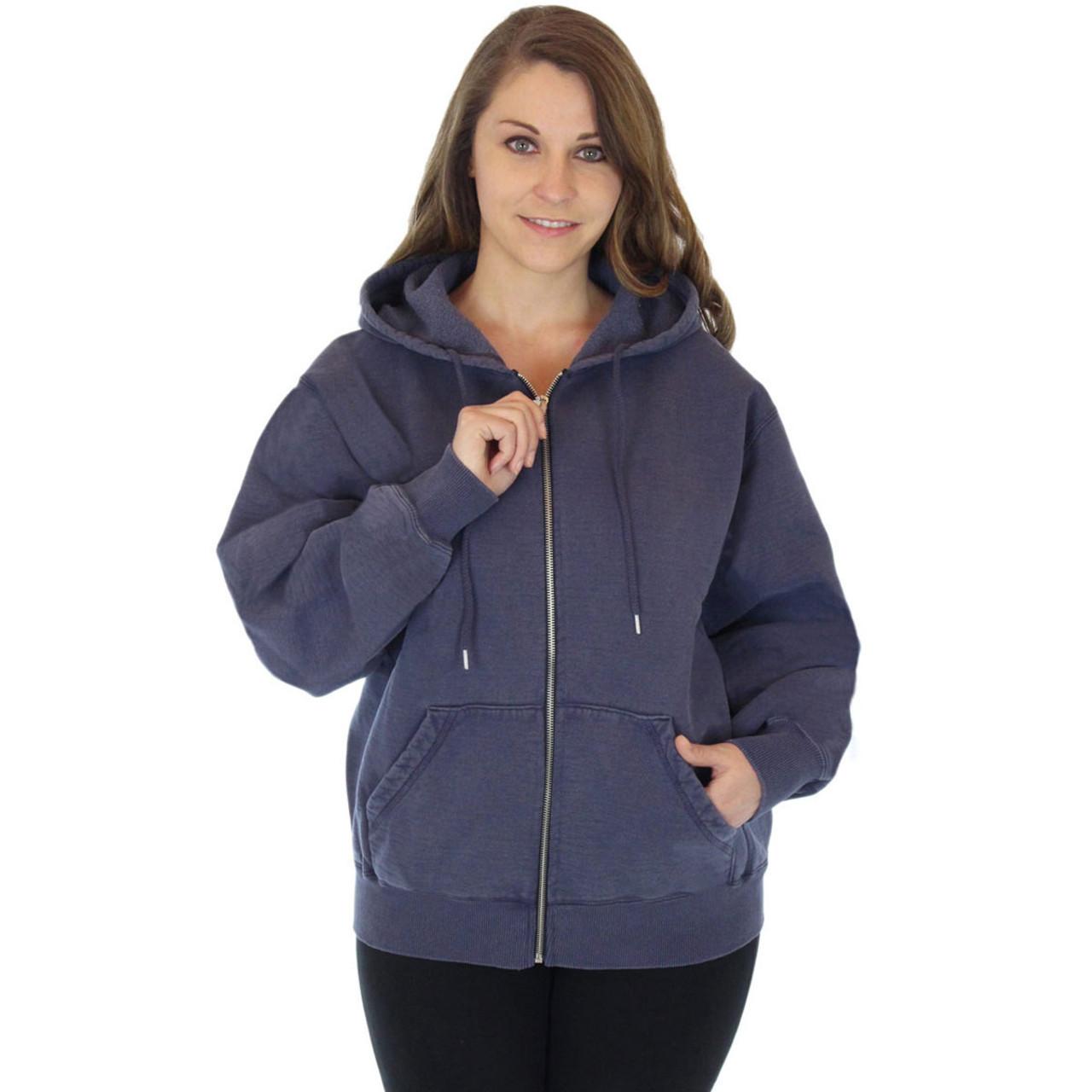 100% Heavy Cotton Womens Fleece Full Zip Hoodie Jacket