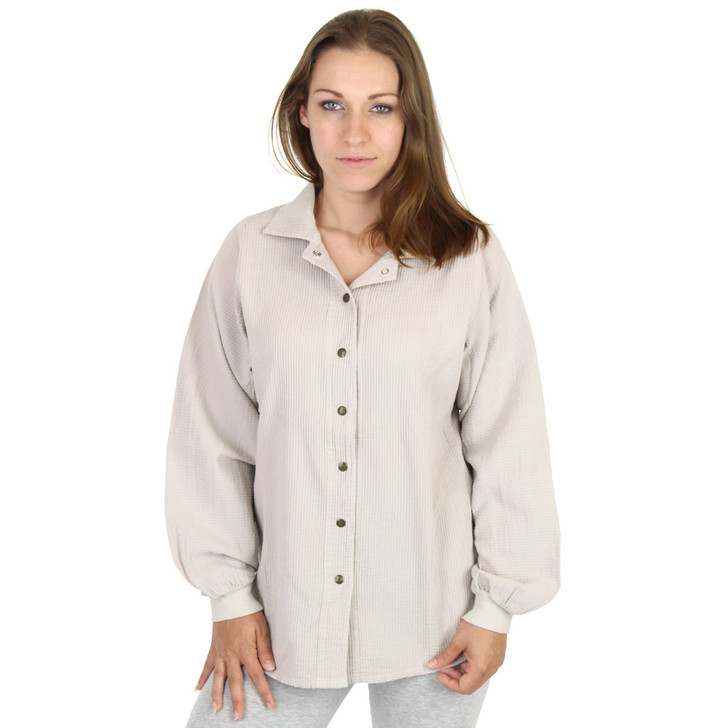 Light Corded Cotton Shirt Jacket (662) Sand