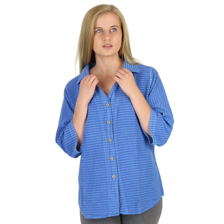 Mirage Cotton Seersucker 3 Qtr Sleeve Blouse (544) SKY BLUE
