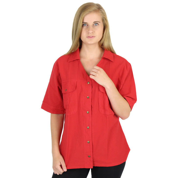 Honeykomb Cotton Short Sleeve Camp Shirt (EW216) RACE RED