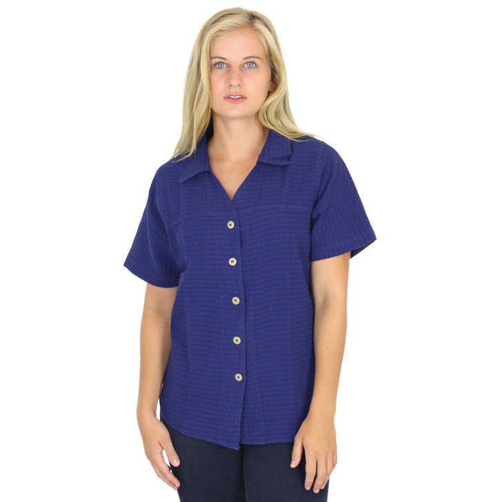 Cotton Mirage Short Sleeve Seersucker Shirt Sapphire