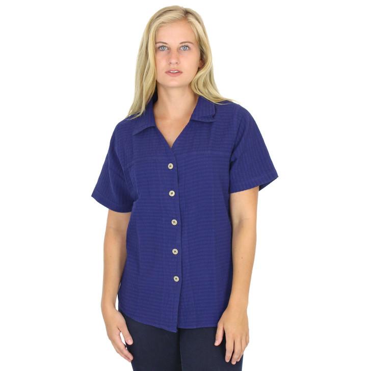 Cotton Mirage Short Sleeve Seersucker Shirt Sapphire