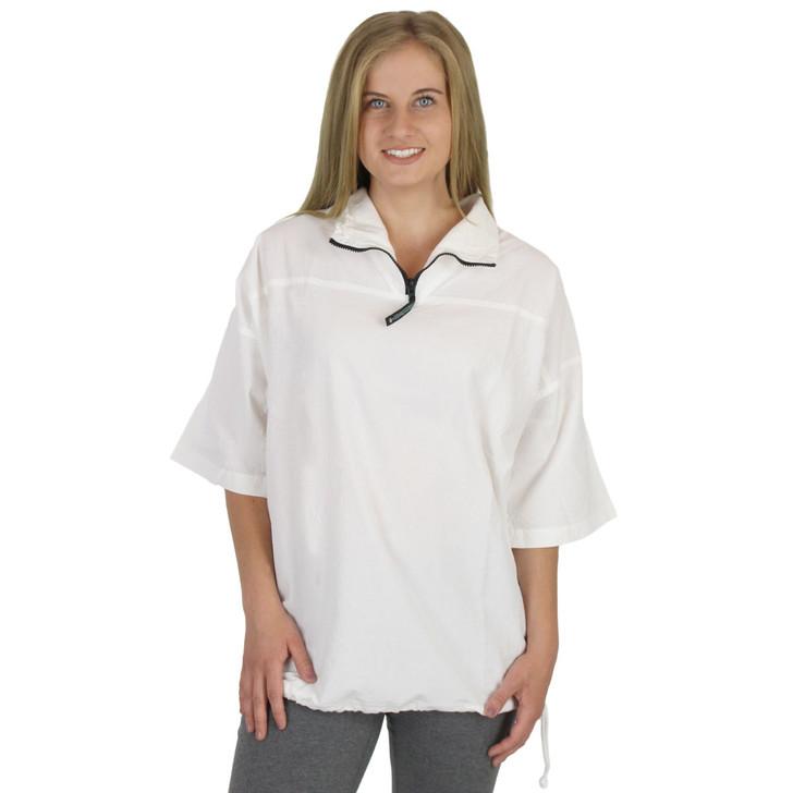 Honeykomb Cotton Short Sleeve Zip Top (204) WHITE