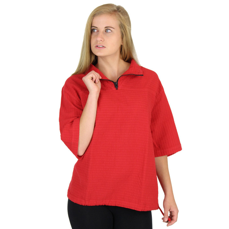 Mirage Cotton Seersucker Half-Sleeve Zip Top (543) FIRE RED