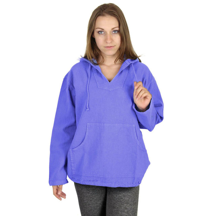 Womens Crinkle Cotton Kangaroo Hoodie Shirt in IRIS