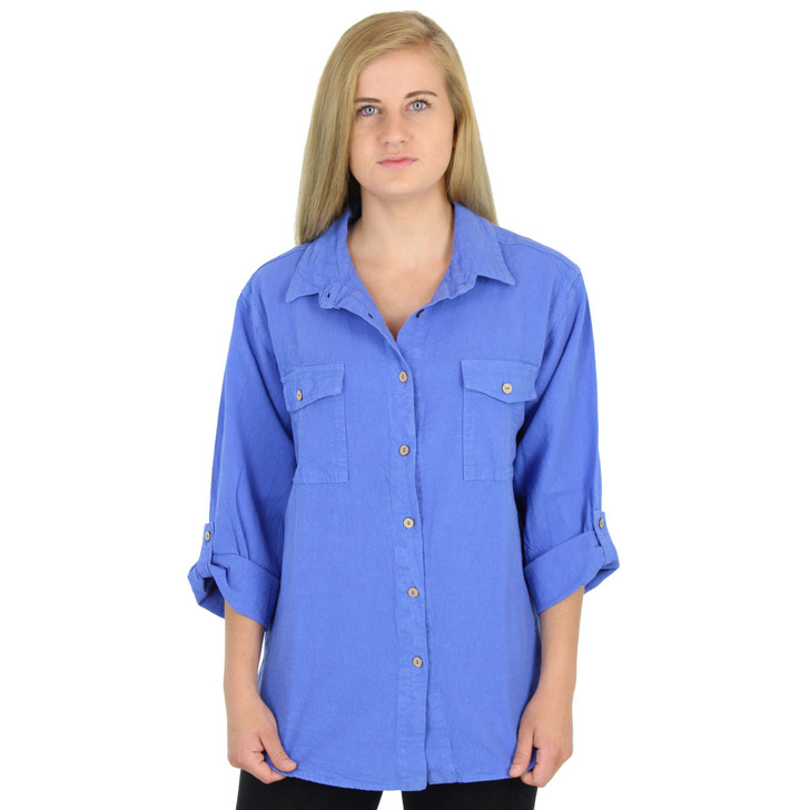 Crinkle Cotton 3 Qtr Slv Jeans Shirt Marina Blue