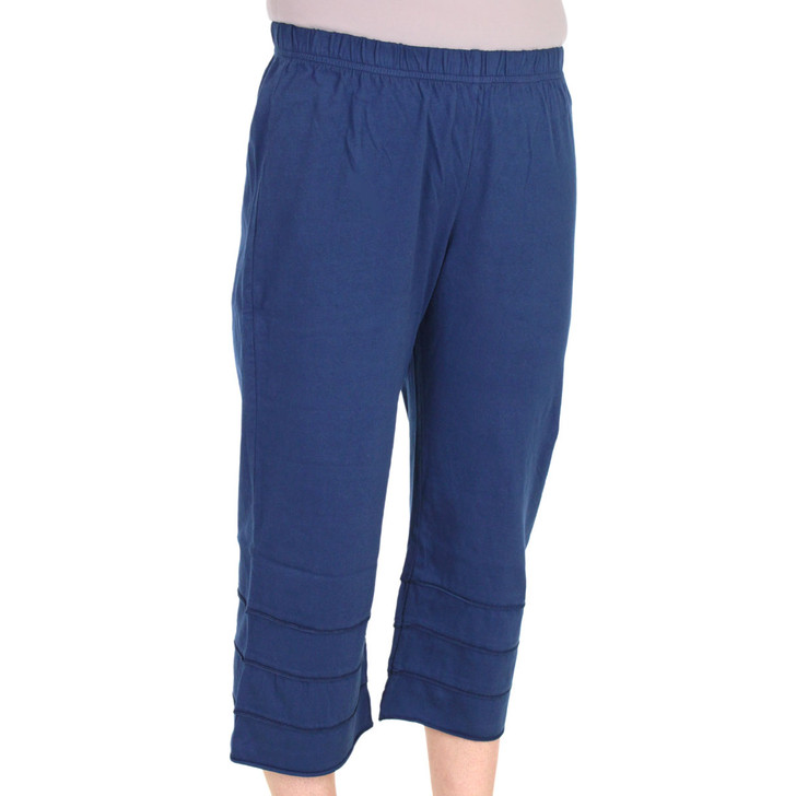 Tiered Capri Cotton Ladies Pants Navy