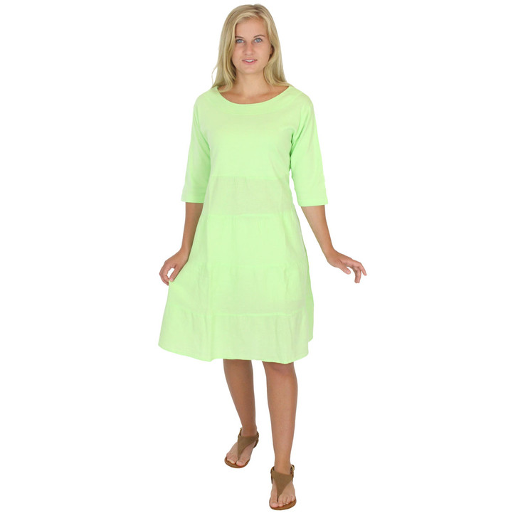 Rib Knit w Crinkle Cotton Swing Dress Honeydew