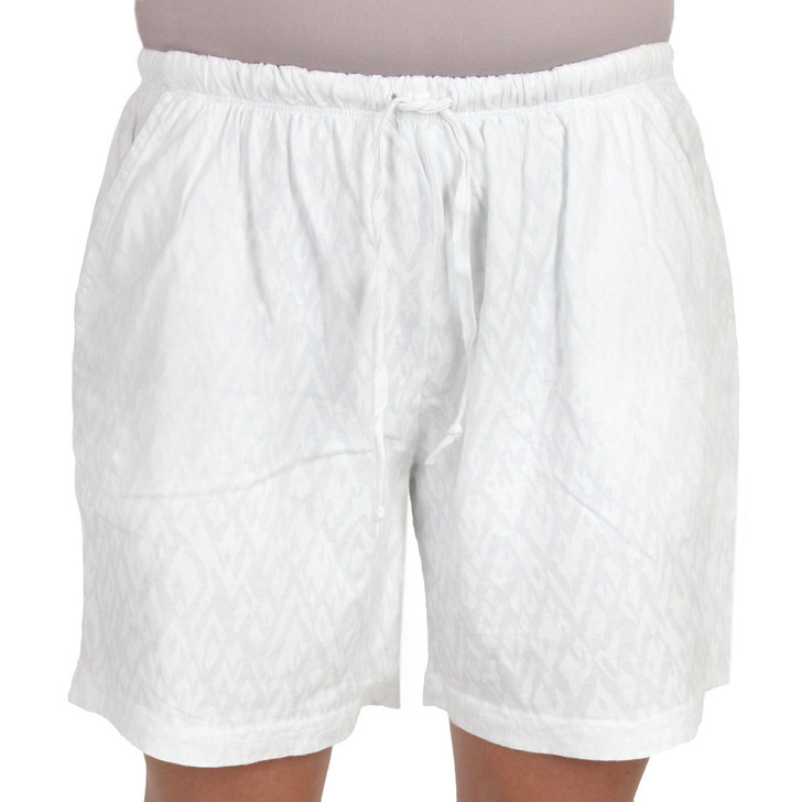 Combed Cotton PRINTED Jersey Knit Shorts - White
