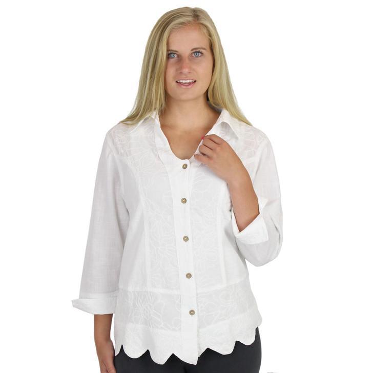 Embroidered Cotton Shirt Jacket White
