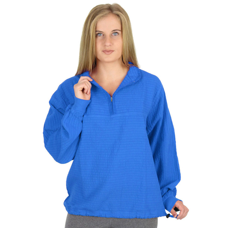 Mirage Cotton Cuffed Long-Sleeve Mandarin Top in Oasis Blue