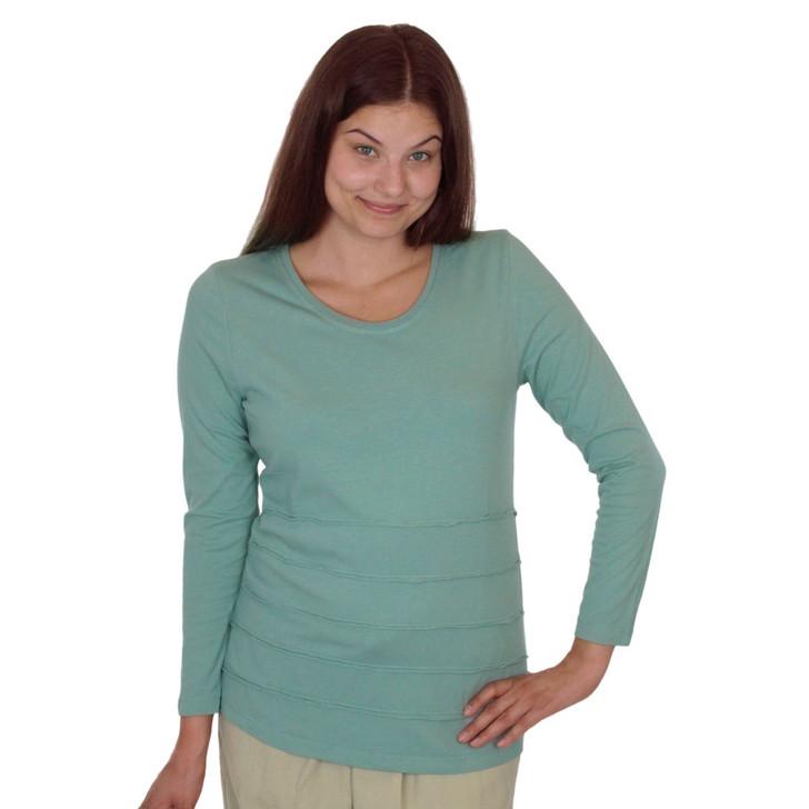 Long Sleeve Tier Top for Women: Eucalyptus