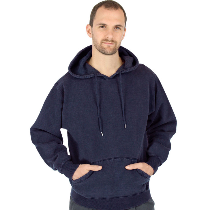 CottonMill 100% Heavy Cotton Mens Hooded Pullover Hoodie Sweatshirt - Dark Navy
