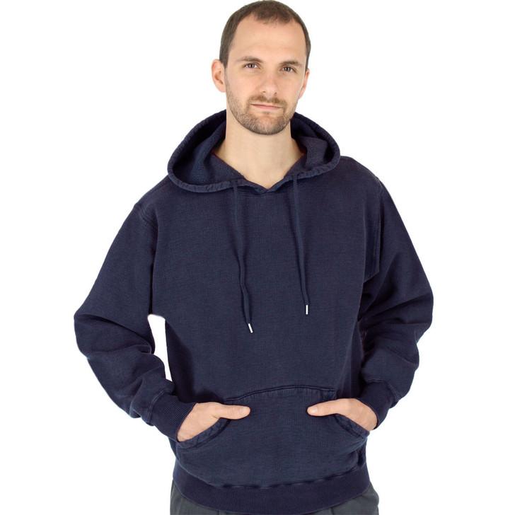 CottonMill 100% Heavy Cotton Mens Hooded Pullover Hoodie Sweatshirt - Dark Navy