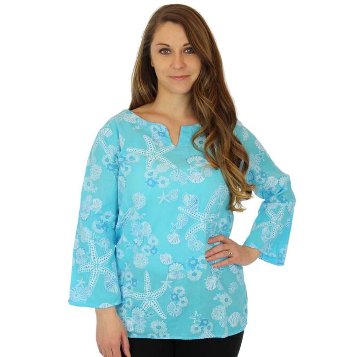 100% Cotton Split Neck 3/4 Sleeve Seafolly Tunic Sky