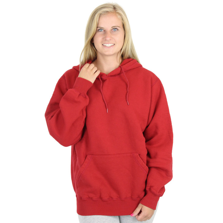 100% Heavy Cotton Womens Hoodie Pullover Sweatshirt - Ruby Red