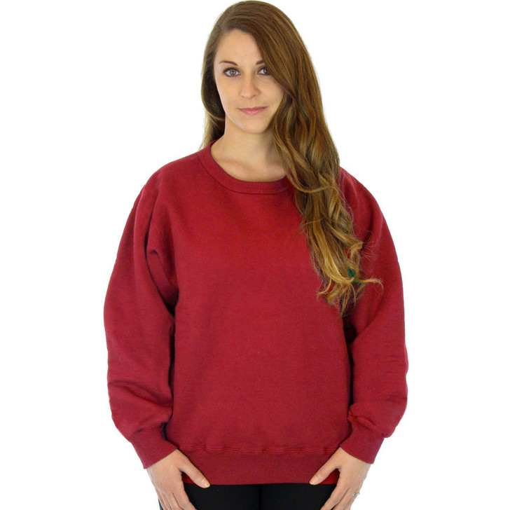 100% Heavy Cotton Womens Crewneck Pullover Sweatshirt - Red
