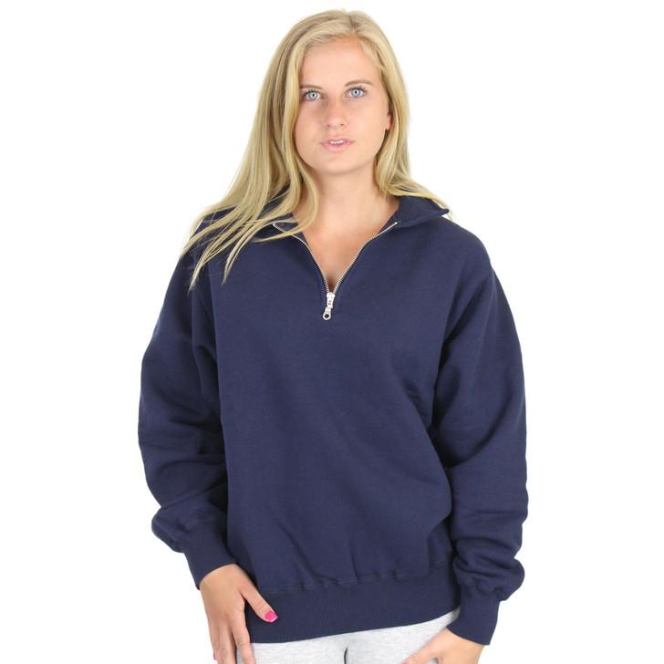 100% Heavy Cotton Zip Neck Womens Polo Sweatshirt Dark Navy