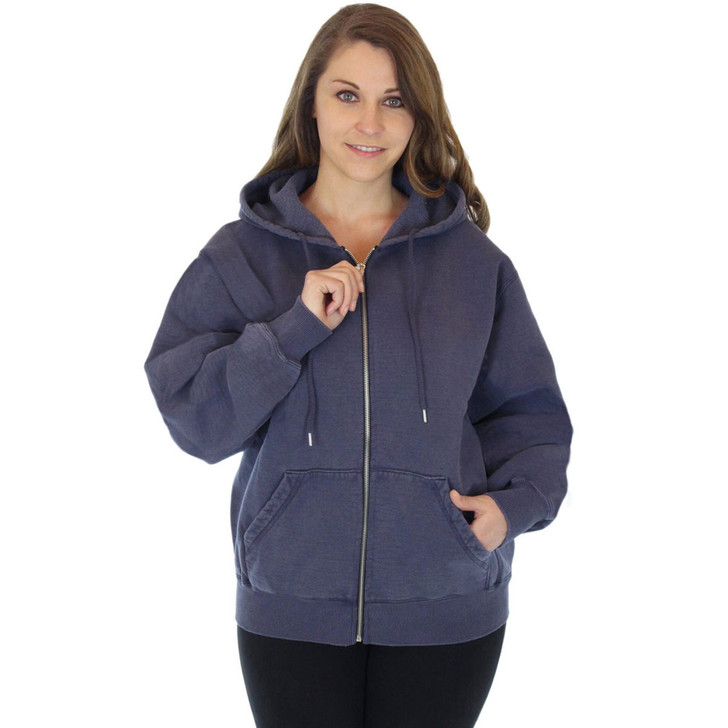 100% Heavy Cotton Fleece Full-Zip Hoodie Jacket - Navy Sand