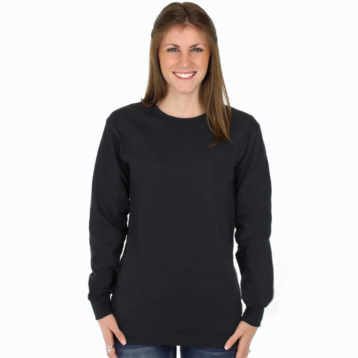 Black Long Sleeve 100% Organic Cotton Hypoallergenic Crew Neck Tee Grown and Made in USA