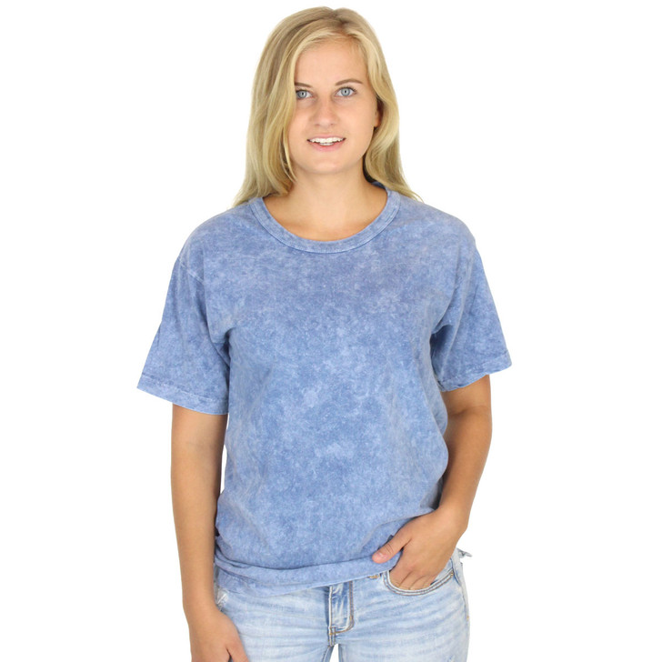 WOMENs 100% Organic Cotton Crew Neck SLATE BLUE Tee Grown & Made in USA